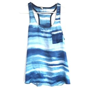 bjb Tops - BJB blue striped watercolor tank top